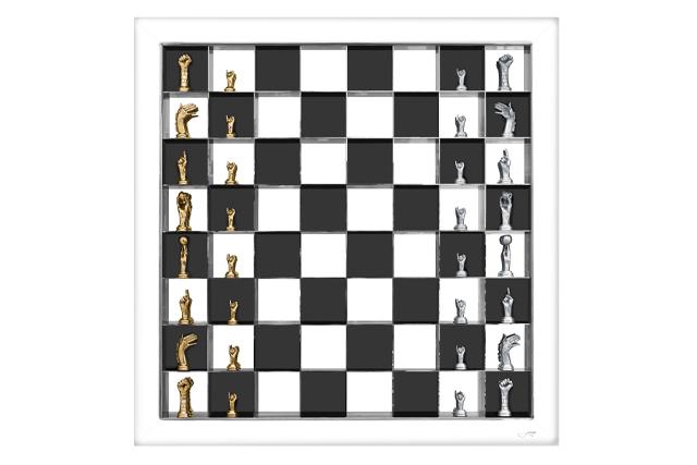 Chess Set - Vertical Board, Stainless Steel - Sculptures - Lorenzo Quinn