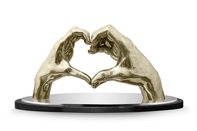 Joining Hearts, White Bronze - Sculptures - Lorenzo Quinn